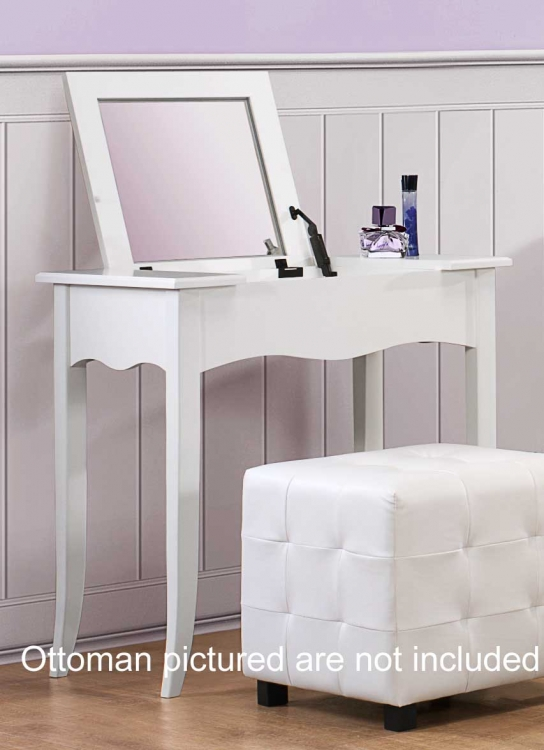Sparkle Vanity Desk w/ Lift top Mirror - White