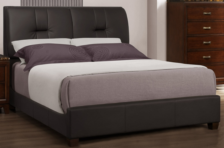 Ottowa Bed - Dark Brown Leatherette