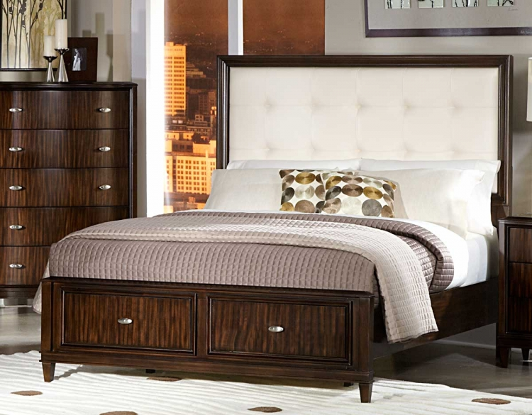 Abramo Bed - Cream Bonded Leather