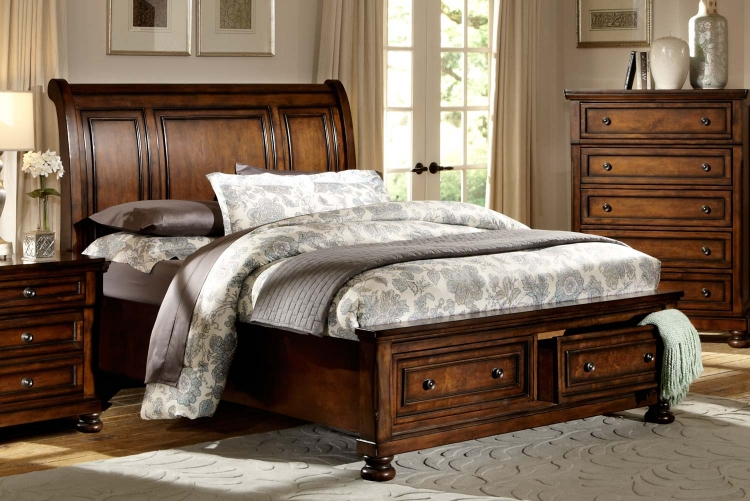 Cumberland Platform Bed - Brown Cherry