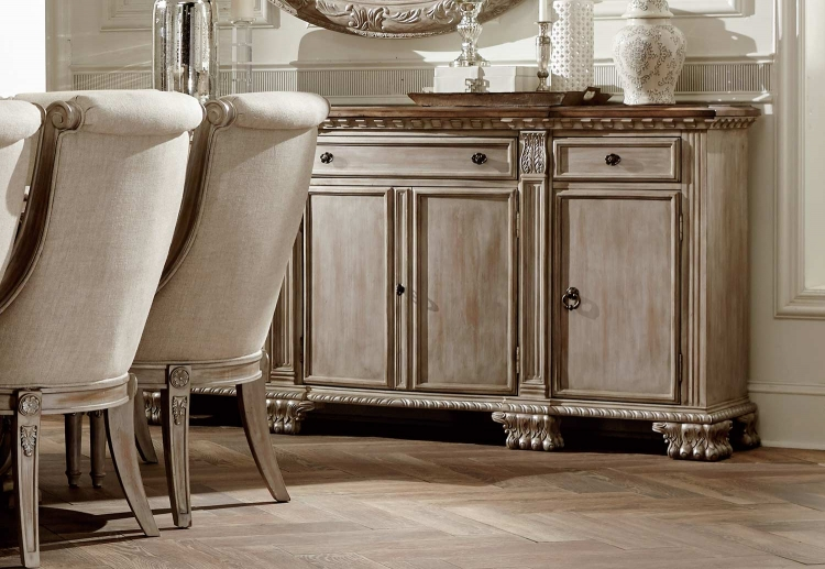 Orleans II Server - White Wash/Weathered Brown