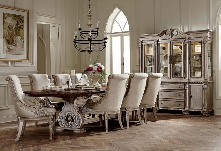 Orleans II Trestle Dining Set - White Wash/Weathered Brown