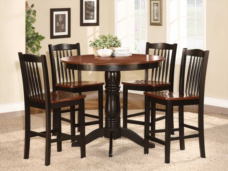 Andover 5-Piece Counter Height Dining Set - Antique Oak and Black