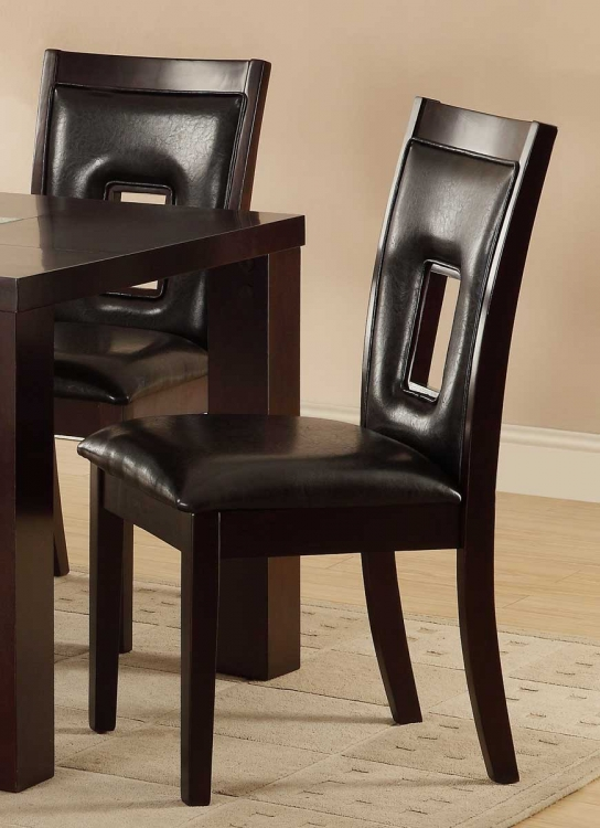 Lee Keyhole Side Chair - Espresso - Dark Brown Bi-Cast Vinyl