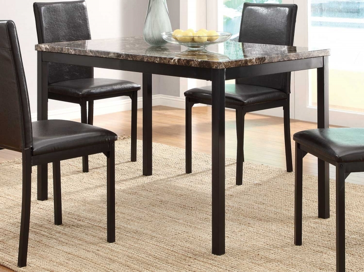 Tempe Dining Table   Black   Dark Brown Faux Marble