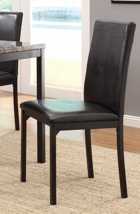 Tempe Side Chair   Black   Dark Brown Bi Cast Vinyl