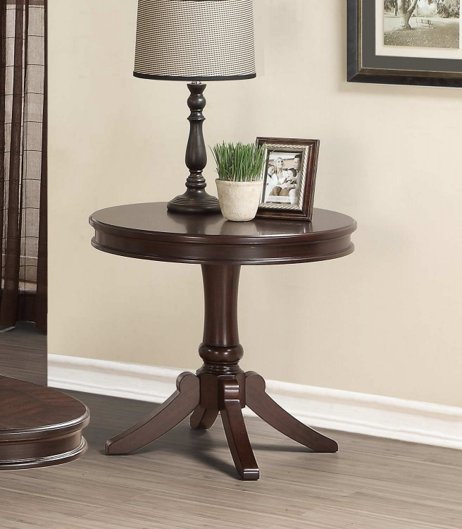 Marston Round End Table - Dark Cherry