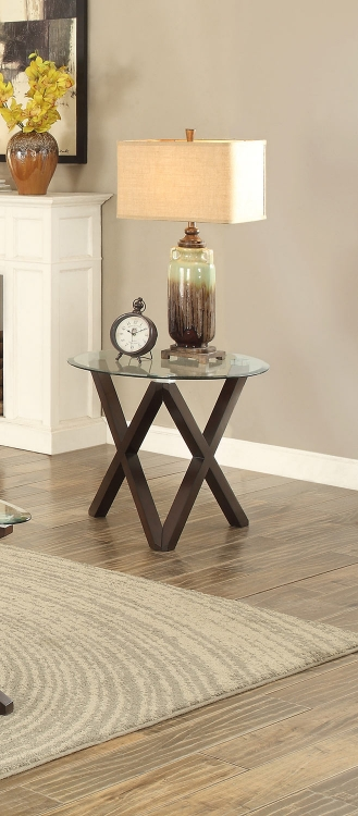 Halston End Table with Glass Top