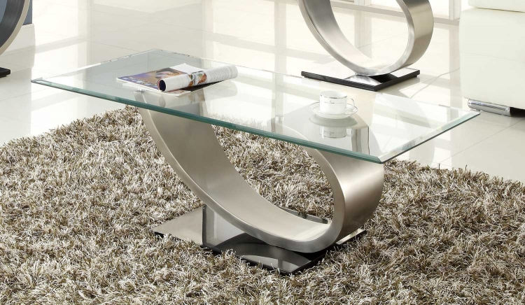 Silvera Cocktail Table - Brushed Chrome