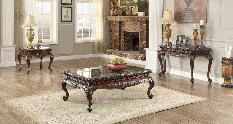 Mariacarla Coffee Table Set - Dark Cherry