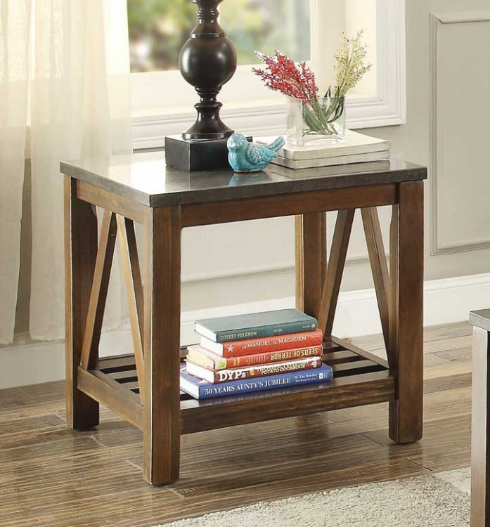 Ashby End Table with Bluestone Marble Tile Top - Dark Oak