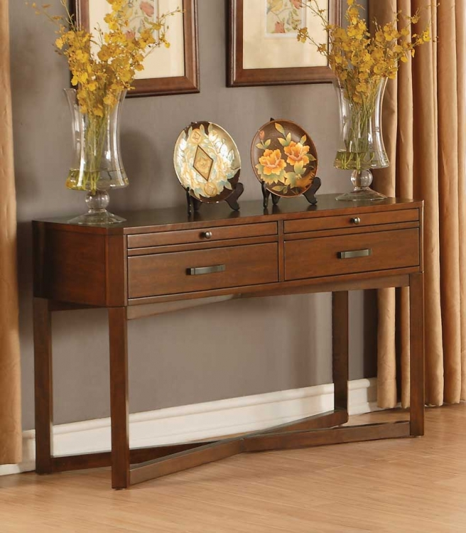 Capitan Sofa Table with Two Functional Drawers - Cherry