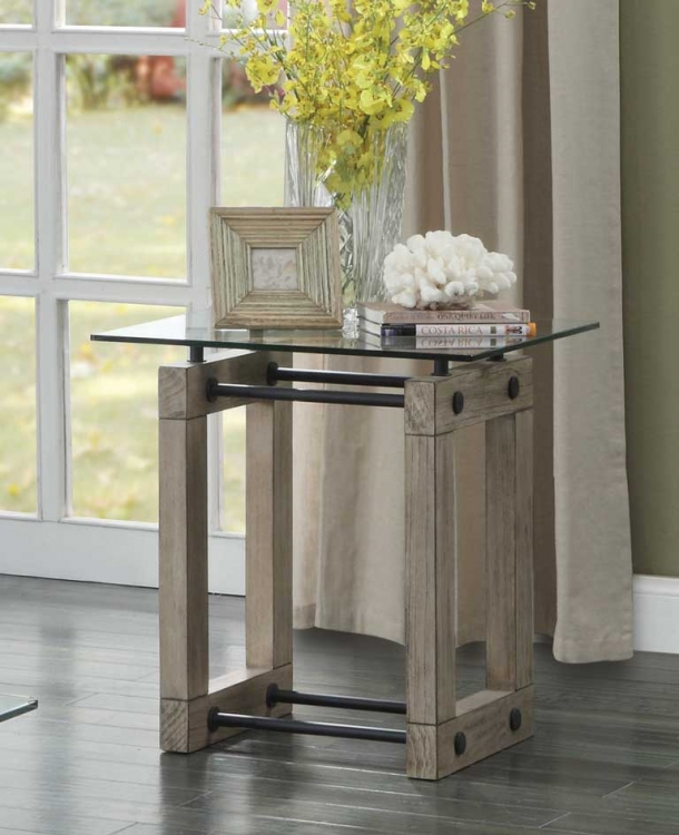 Mesilla End Table with Glass Top - Natural wood tone