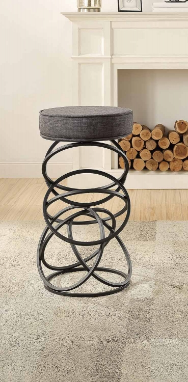 Yara Upholstered Bar Stool - Metal Base - Gray Fabric