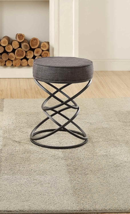Yara Upholstered Stool - Metal Base - Gray Fabric