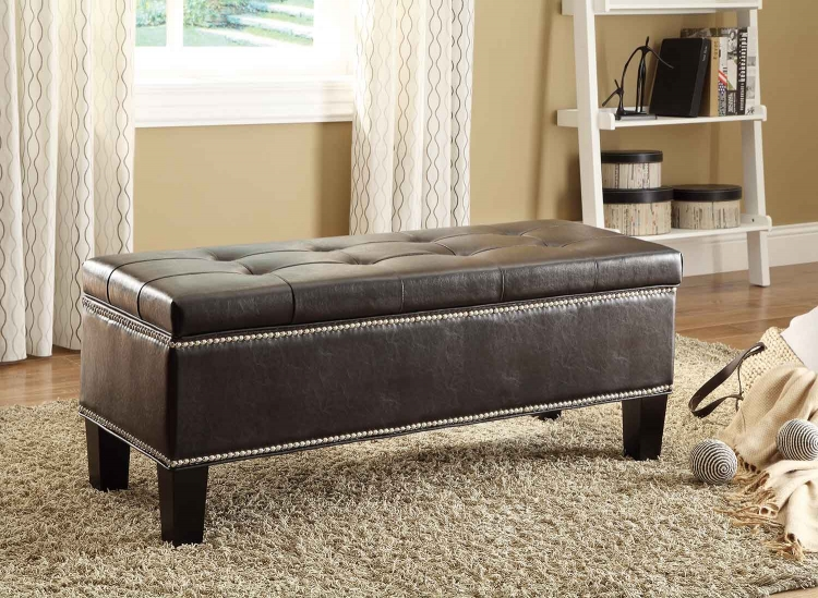 Reverie Lift-Top Storage Bench - Black Bi-Cast Vinyl