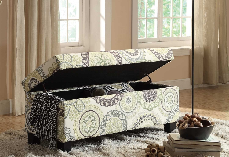 Claire Lift Top Storage Bench - Floral Fabric