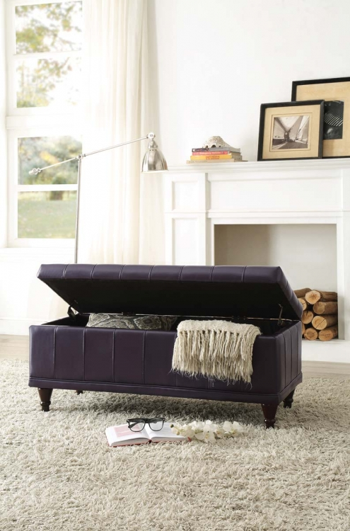 Afton Lift Top Storage Bench - Purple Bi-Cast Vinyl