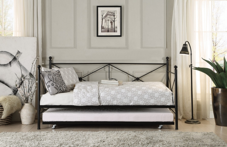jones metal daybed with trundle   black daybed and futon   homelegancefurnitureonline    rh   homelegancefurnitureonline