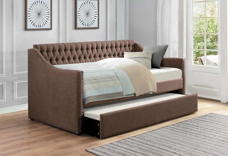Tulney Button Tufted Upholstered Daybed with Trundle - - Brown