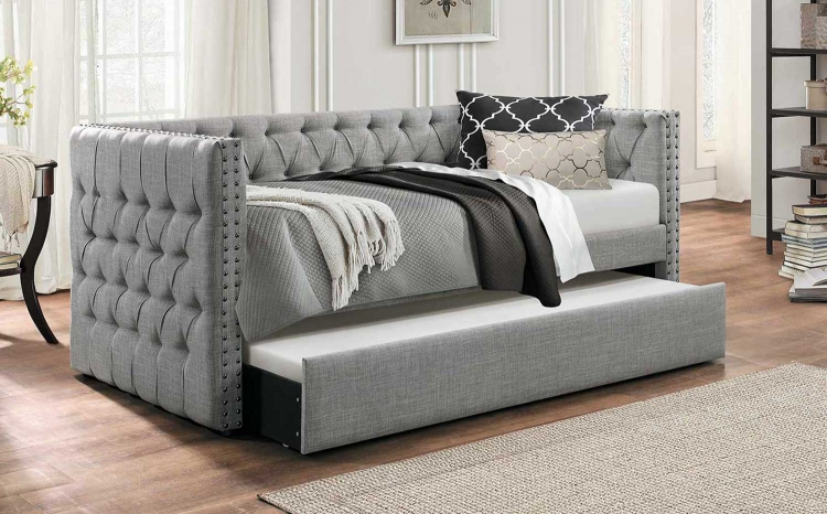 Adalie Button Tufted Upholstered Daybed with Trundle - - Gray