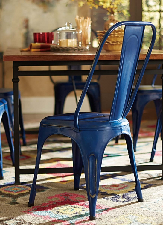 Amara Blue Metal Chair - Blue