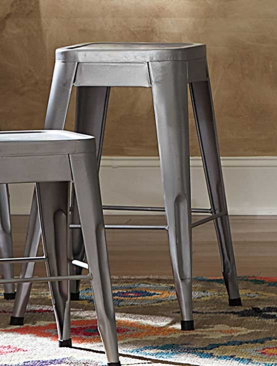Amara 24in Metal Counter Stool - Silver