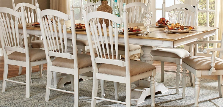 Hollyhock Trestle Pedestal Dining Table - Distressed White/Oak
