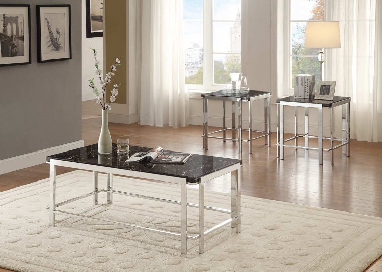 Watt 3-Piece Occasional Table Set with Shelf - Chrome Metal Base with Faux Marble Top