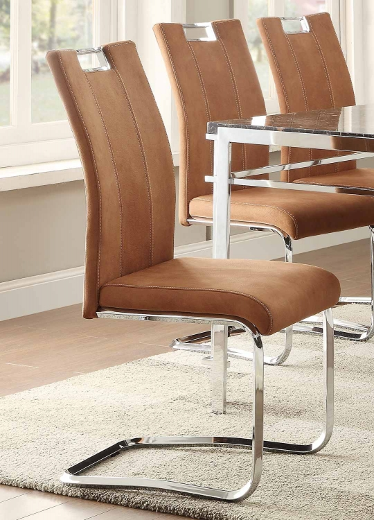 Watt Side Chair - Metal/Camel Brown Upholstery