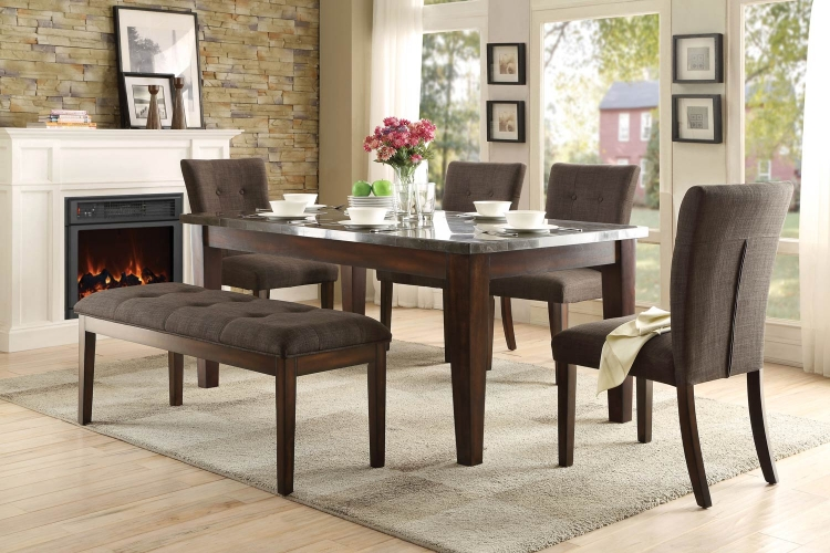 Dorritt Dining Set - Bluestone Marble Top - Cherry