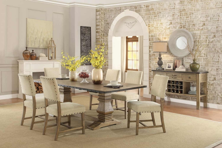 Veltry Rectangular Dining Set - Weathered Finish