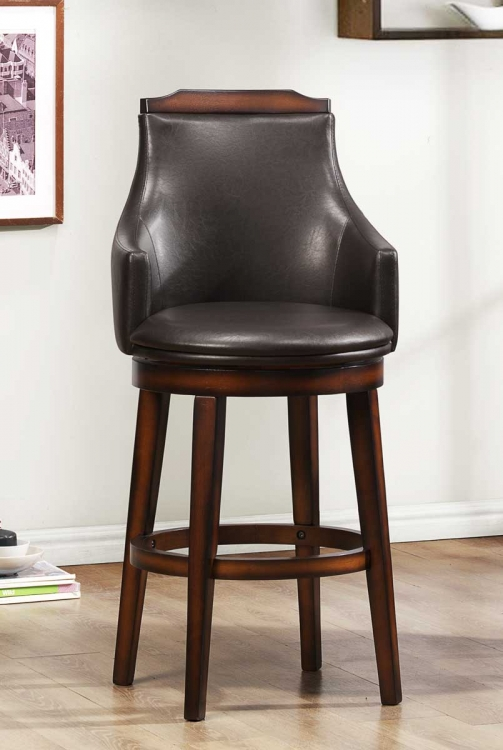 Bayshore Swivel Pub Chair - Medium Walnut - Vinyl