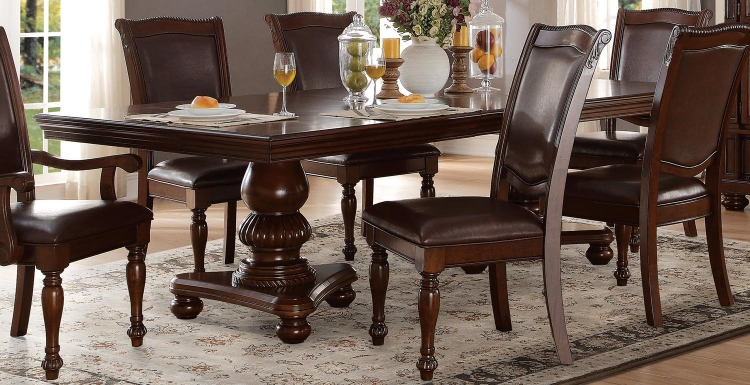 Lordsburg Double Pedestal Dining Table - Brown Cherry