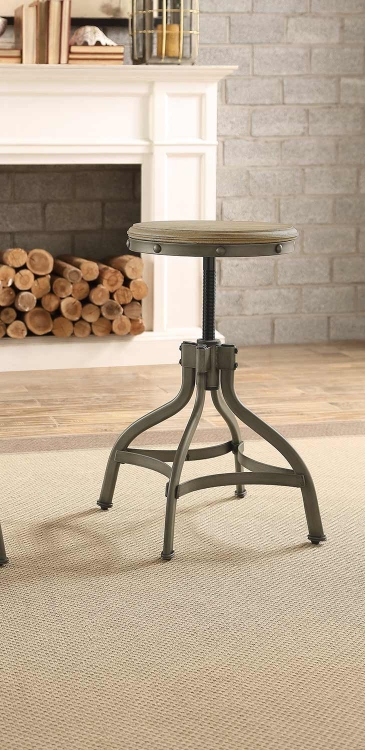 Beacher Round Adjustable Height Round Stool - Weathered Wood Veneer