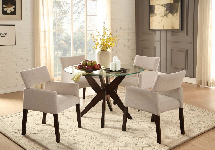 Massey Round Glass Top Dining Set - Espresso