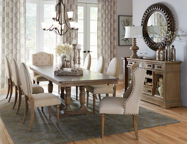 Avignon Dining Set - Natural Taupe - Oak veneer