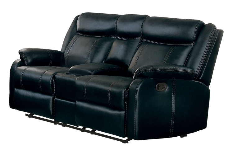 Jude Double Glider Reclining Love Seat with Console - Black Leather Gel Match