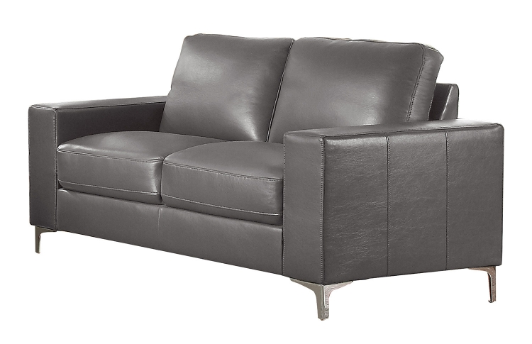Iniko Love Seat - Gray Leather Gel Match