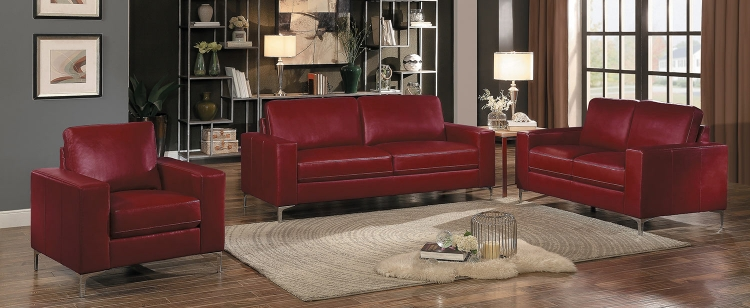Iniko Sofa Set - Red Leather Gel Match