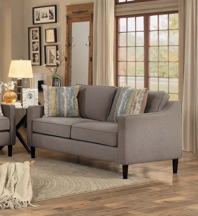 Lotte Love Seat - Brown Fabric