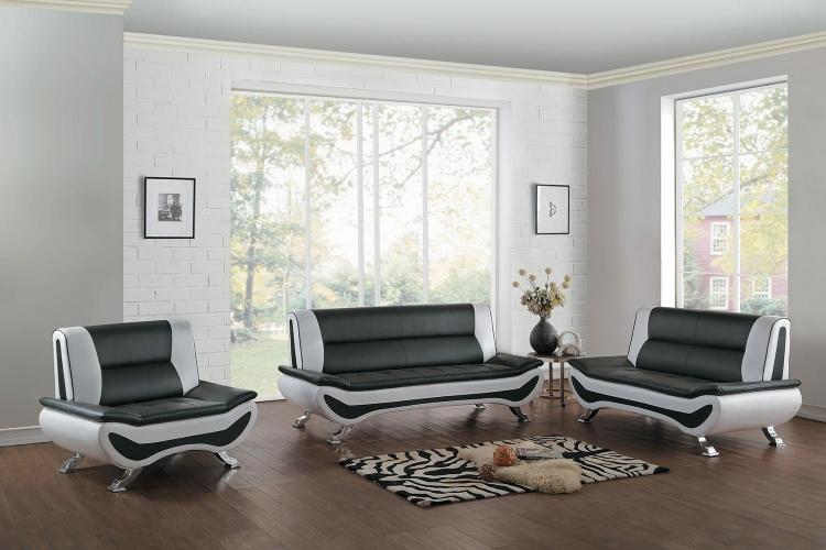 Veloce Sofa Set - Black/Ivory Bi-Cast Vinyl