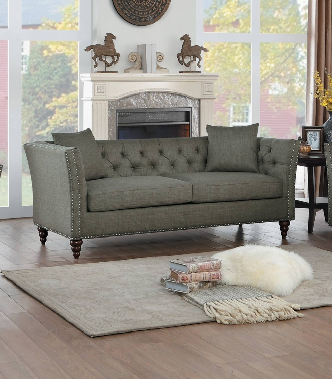 Marceau Sofa - Brown-Gray Fabric