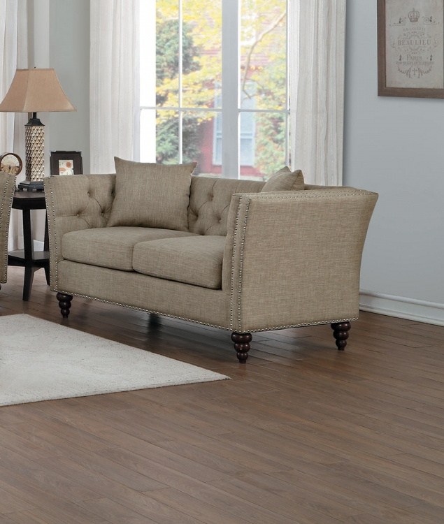 Marceau Love Seat - Tan Fabric