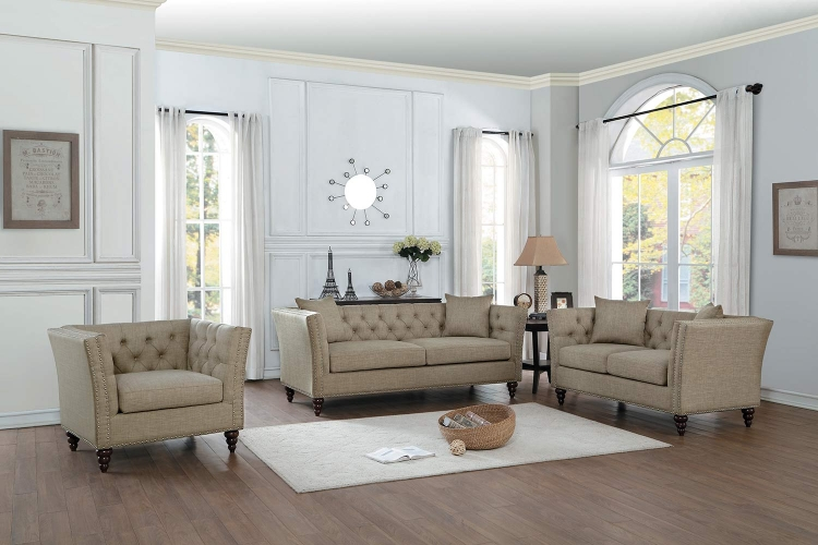 Marceau Sofa Set - Tan Fabric