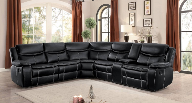 Bastrop Reclining Sectional Set - Black Leather Gel Match