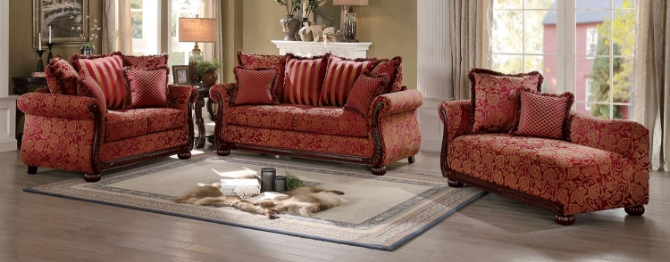 Grande Isle Sofa Set - Red Printed Fabric