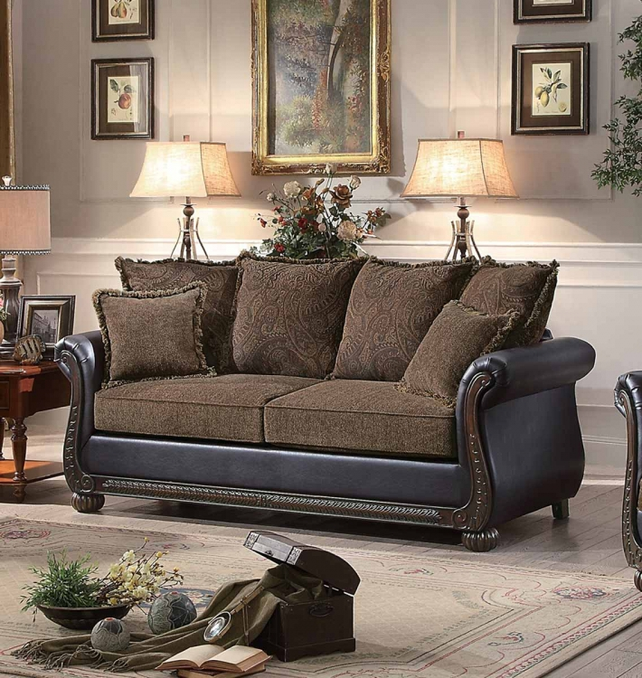 Grande Isle Sofa - Brown Fabric/Dark Brown Bi-Cast Vinyl