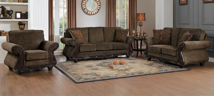 Mandeville Sofa Set - Brown Chenille