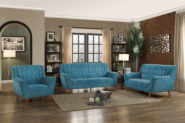 Erath Sofa Set - Blue Fabric